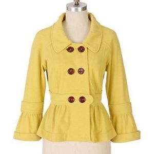 Anthropologie Allihop yellow button peplum jacket